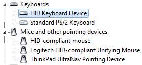 Keyboards and Mice in Device Manager